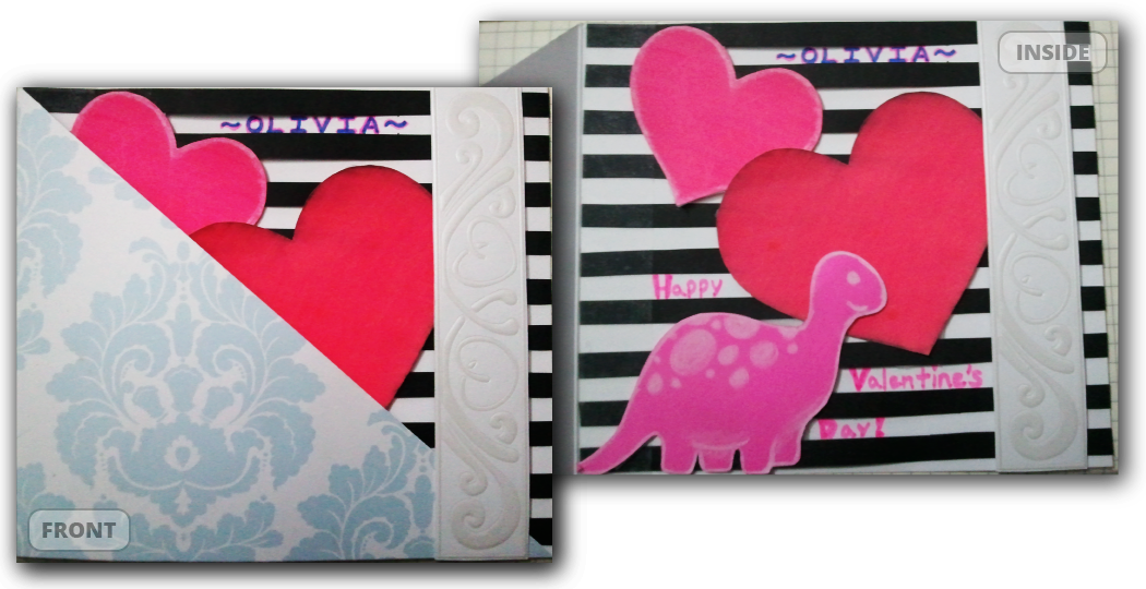 <h4>Dino Valentine</h4>  Scisors, scotch tape, and a few re-purposed greeting cards... (6x5in closed)