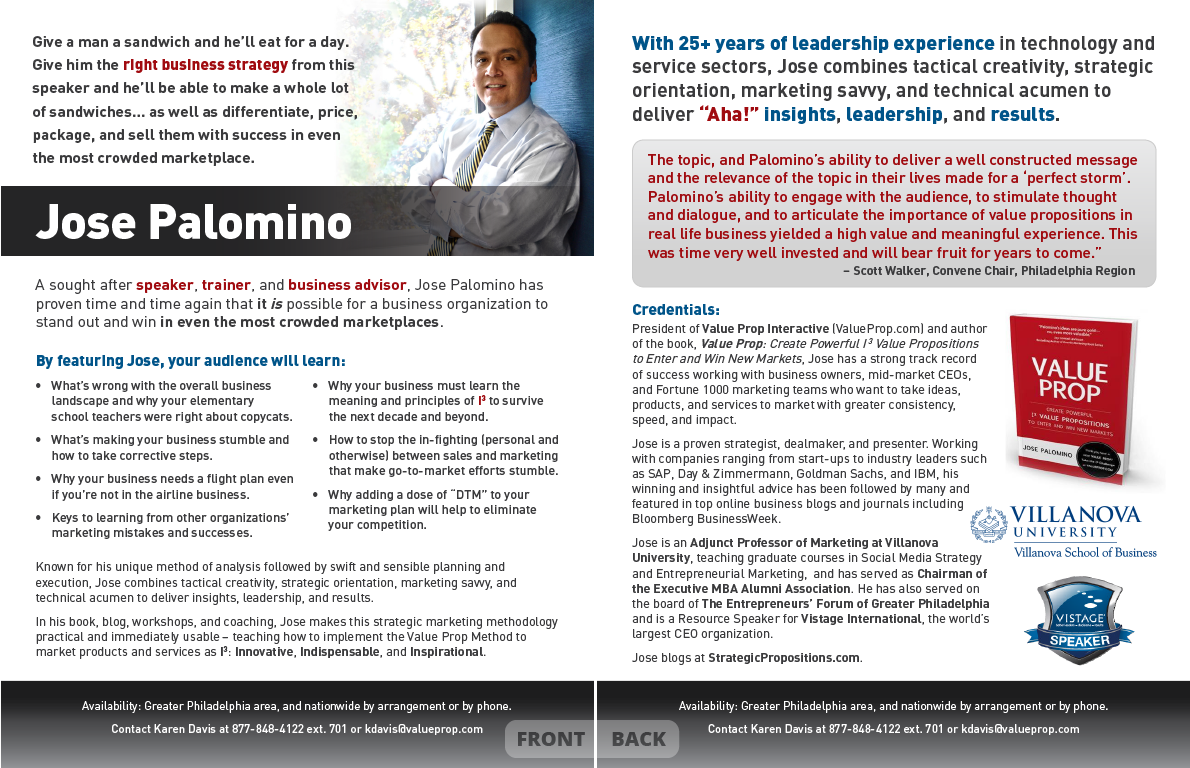 <h4>Jose Palomino – Speaker Info Sheet</h4> 				 				Jose is a dynamic, informative, and very clear communicator, so he needed a speaker info sheet to match.
