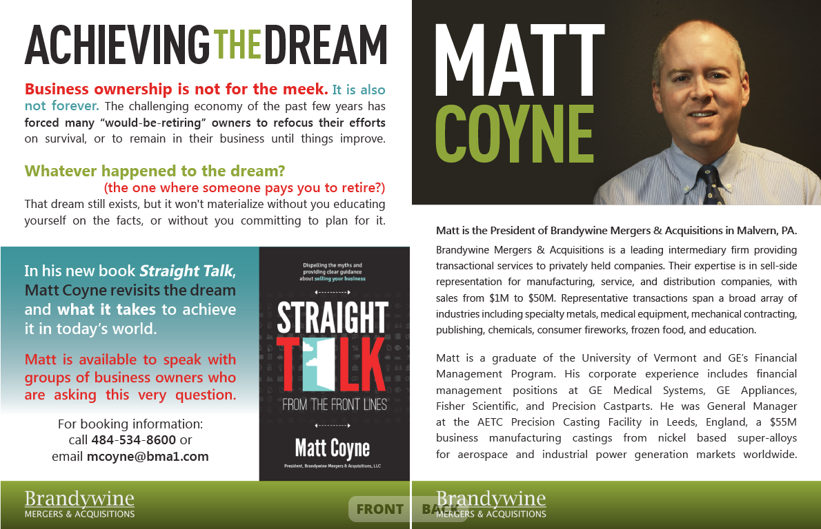 <h4>Matt Coyne – Speaker Information Sheet</h4> 				 				Matt's new book looked a little out of place on the nice-but-pretty-basic Word Document he was going to use to promote it and related speaking engagements, so I upped the ante and gave him a bold new speaker sheet to match!