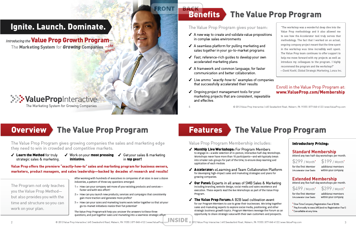 <h4>VPI Marketing Acceleration Program Info Sheet</h4> 				 				We had a previous version of this as a 6-page full-sheet document, but wanted a 'lighter' version, so we trimmed down the copy and I converted it – keeping most of the original design features – to 4 half-size pages that open unexpectedly width-wise. (8.5x5.5in closed, 17x5.5in open)
