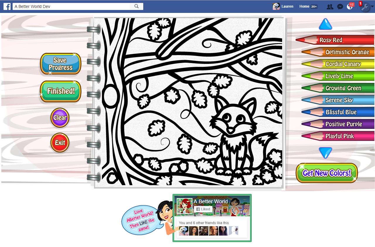 """<h4>Fox Coloring Page</h4>  My job at ToonUp Snippets was mainly project managing a facebook game called """"A Better World"""", so mostly I wrote instructions for the art (like the coloring area interface), but sometimes I end up having to just draw it myself, like this coloring page."""