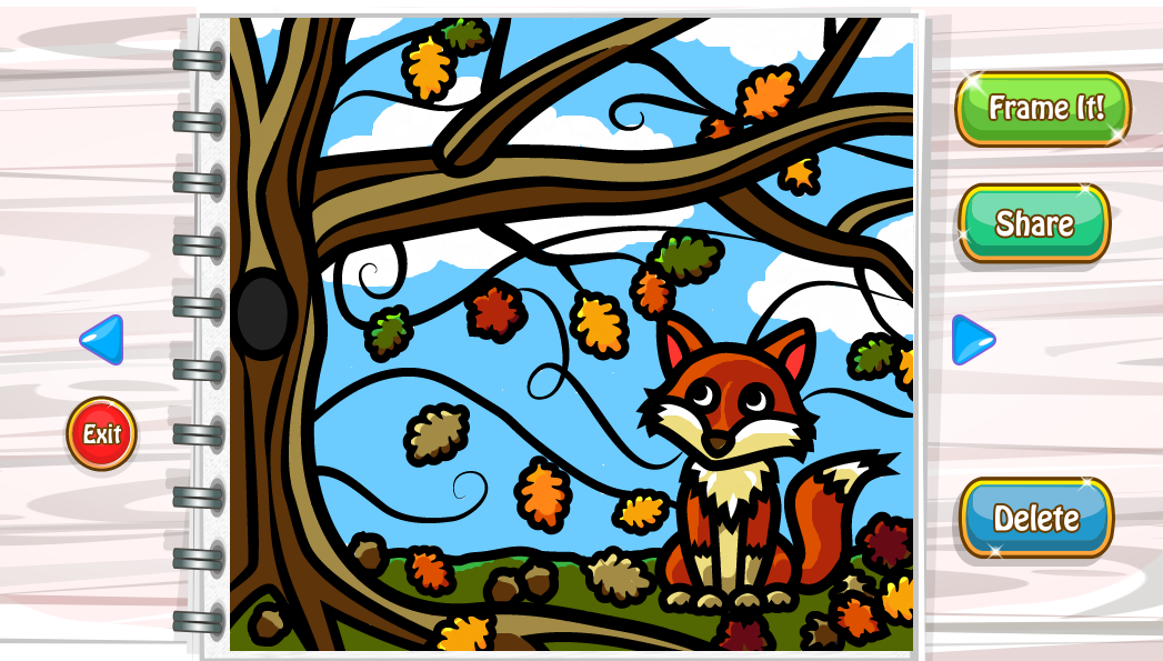 <h4>Autumn Fox Colored In</h4>  Part of the process, of course, was testing the coloring activity we added to the game, and making sure the lineart was enjoyable to color and we provided suitable colors to choose from, while keeping it simple - so I colored the fox page I had drawn!