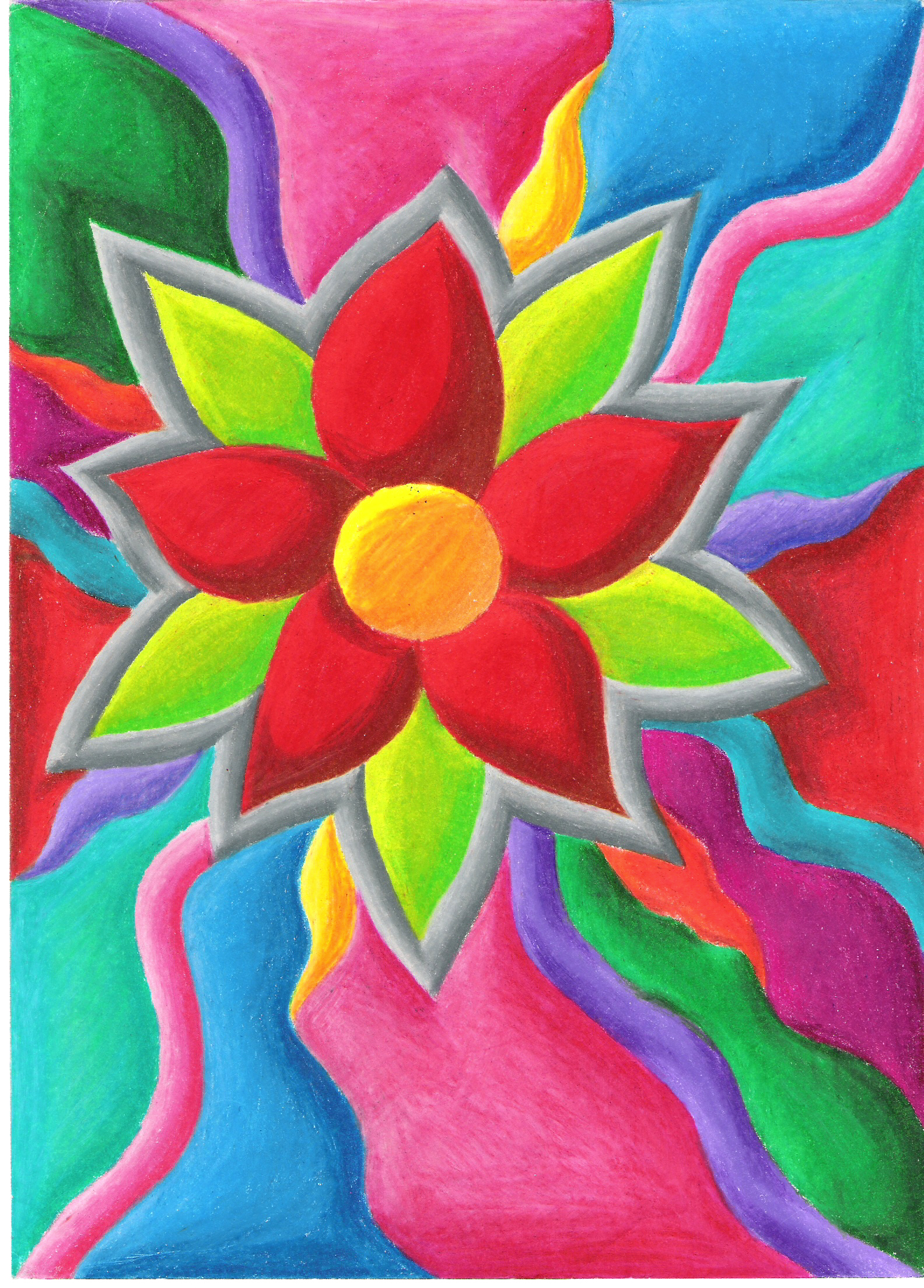 <h4>A Colorful Flower</h4>  A little doodle in colored pencil. (8.5x11in)