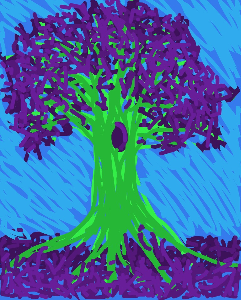 <h4>Fingerpaint Tree</h4>  Testing out drawing/painting on the iPad. Fun to do, and turned out pretty fun too.