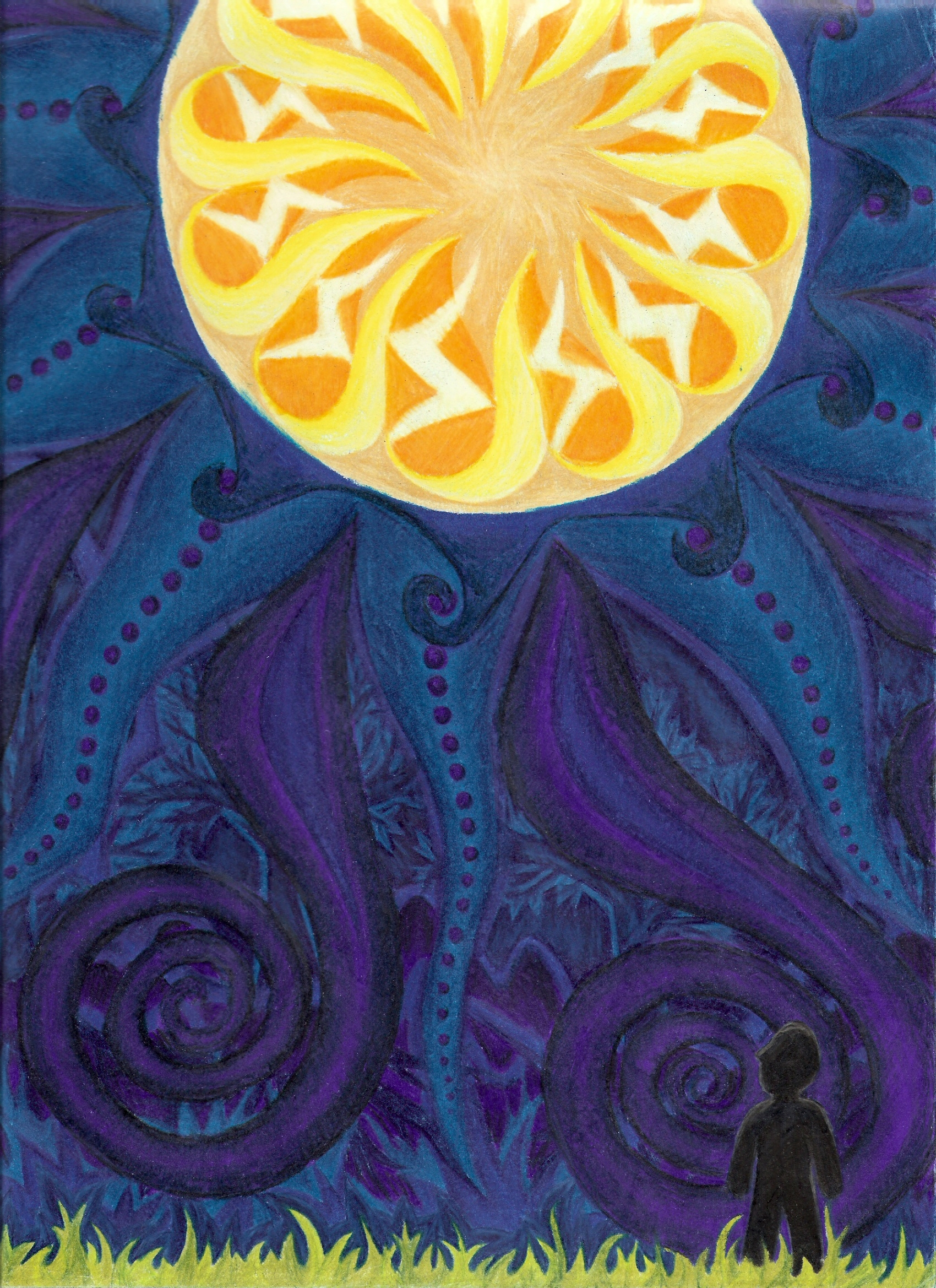 <h4>Watching Luna</h4>  Commissioned as the background for a flyer. (Colored pencil, 8.5x11in)