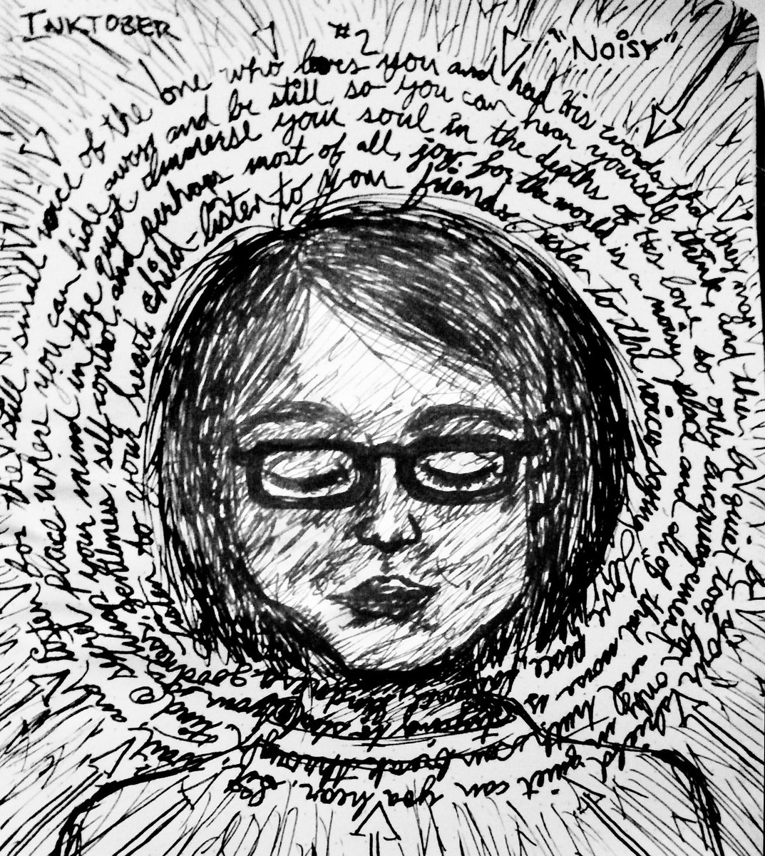 """<h4>Inktober #2 </h4>  One of my favorite #Inktober drawings was from the second prompt, """"Noisy"""" – it turned out as a self-portrait in which carefully choosing which words I listen to turns them into a shield against the rest of the noise coming at me."""