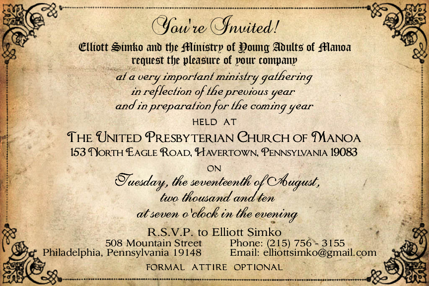 "<h4>Manoa Church's ""Very Important Meeting"" Invitation</h4> 				 				An invitation to an important ministry meeting deserved to look extra-official. :)"