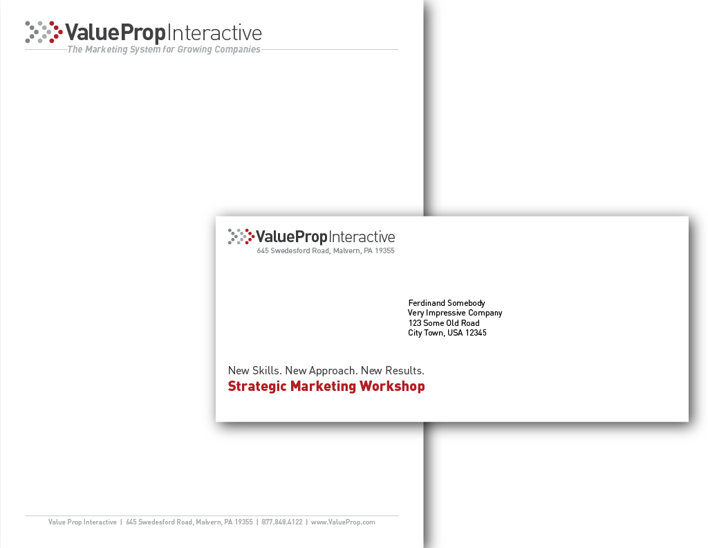 <h4>Value Prop Interactive Company Stationery</h4> 				 				8.5x11in. Letterhead and envelopes in various sizes.