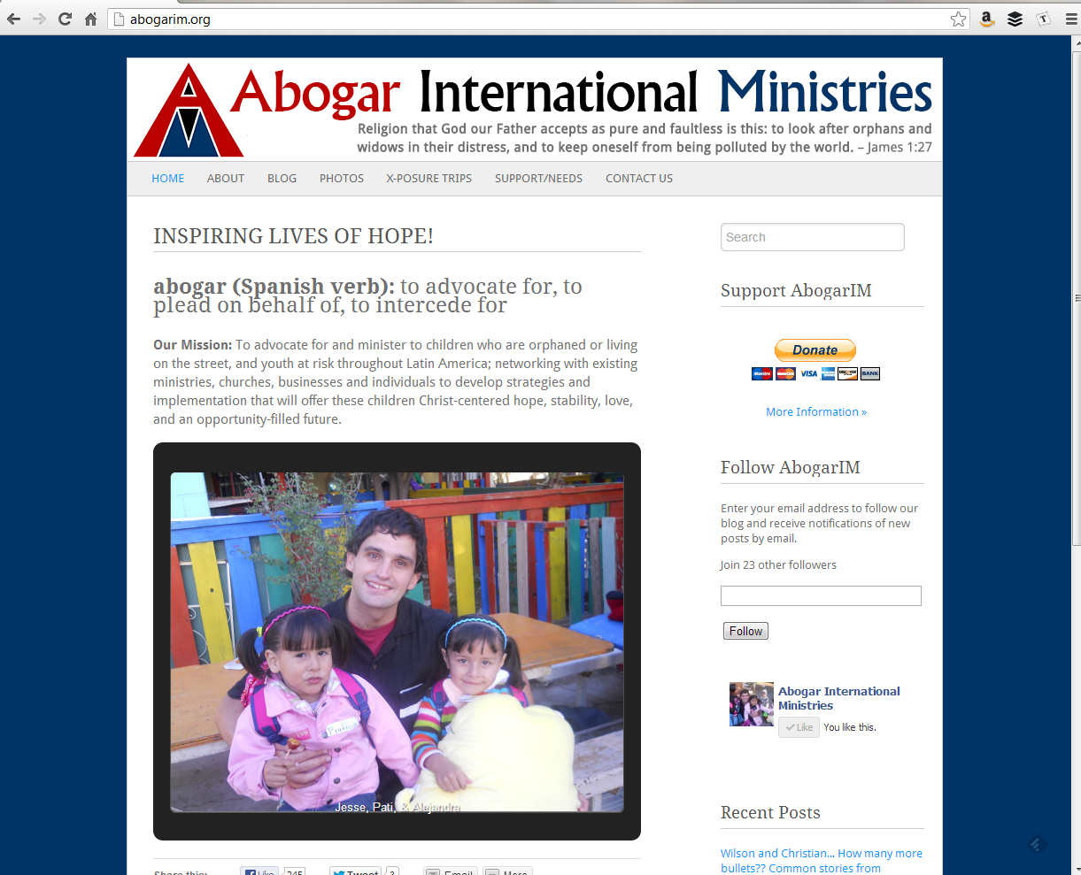 """<h4>AbogarIM.com</h4>  Powered by WordPress.com, the structure is simple, but plenty of information, a frequently-updated blog, lots of photo galleries, and custom forms punch things up a bit.  <a href=""""http://www.abogarim.org"""" target=""""_blank"""" class=""""link"""">Check it out! →</a>"""