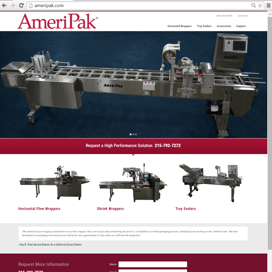 """<h4>AmeriPak Website</h4>  Overly text-heavy pages on its parent company's website were not exactly helping AmeriPak's sales - but their new website highlights their line of packaging machines and makes choosing one as simple as operating them already was! A revised information architechture, simple tables, and sharp new photography make even me want to buy a shrink wrapper, just for kicks.  <a href=""""http://ameripak.com"""" target=""""_blank"""" class=""""link"""">Check it out! →</a>"""