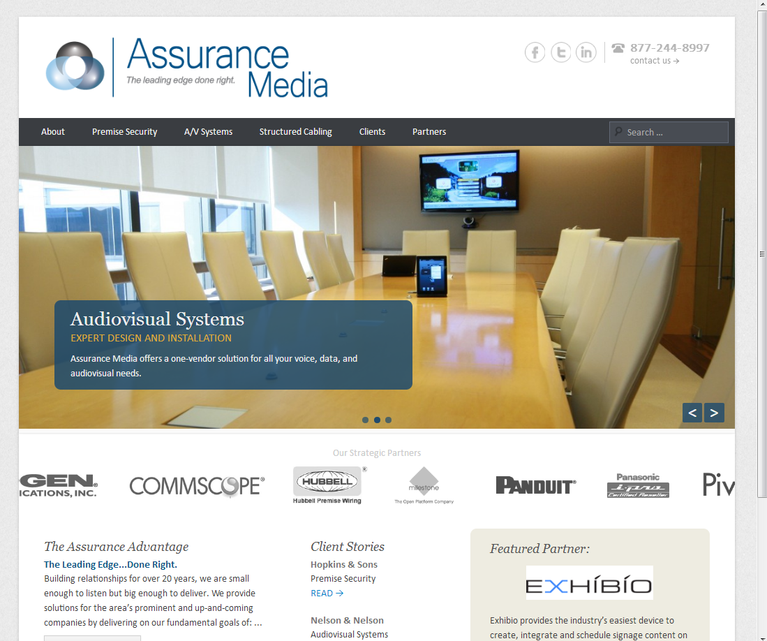"""<h4>Assurance Media Website Redesign</h4>  The new Assurance Media website is powered by WordPress and a highly customized version of the <a href=""""http://wordpress.org/themes/catch-everest"""" target=""""_blank"""">Catch Everest theme theme</a>, with scrolling client logo reel and random featured partner widget.  <a href=""""http://www.assurancemedia.com"""" target=""""_blank"""" class=""""link"""">Check it out!→</a>"""