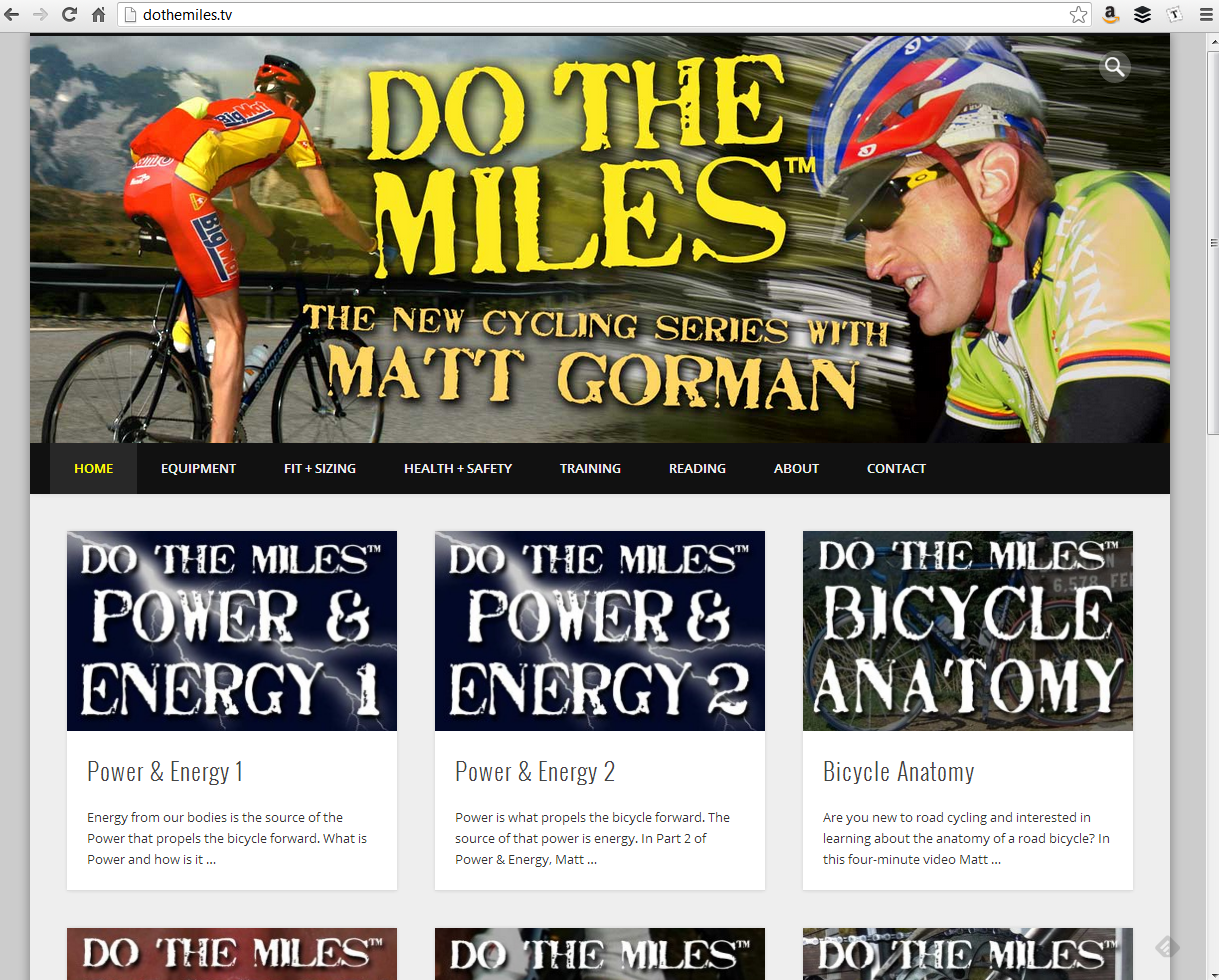 """<h4>DoTheMiles.com</h4>  A simple WordPress implementation with a lightly-customized <a href=""""http://www.onedesigns.com/wordpress-themes/pinboard"""" target=""""_blank"""">Pinboard Theme</a>, perfect for Do The Miles' cycling videos.  <a href=""""http://www.dothemiles.tv"""" target=""""_blank"""" class=""""link"""">Check it out! →</a>"""