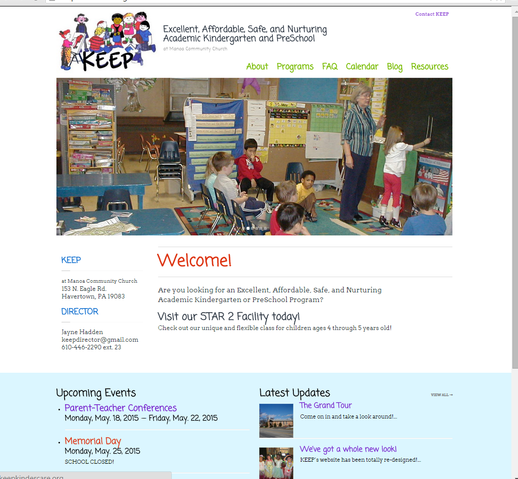 """<h4>KEEP Kindergarten Website</h4>  KEEP Kindergarten and Pre-K needed a new, spiffy website to provide students' parents with up-to-date info on the school's programs and events, downloadable forms, links to useful resources, and photos and stories from class, as well as attracting potential new students - including the information, documentation, and applications they need to enroll.  I set them up with a bright, fun, simple design that showcases all the educational fun they're having, makes it easy to share and find the info they need, and an easy-to-update calendar and blog to help the teachers communicate with parents.  <a href=""""http://manoaskeepkindergarten.org"""" target=""""_blank"""" class=""""link"""">Check it out! →</a>"""