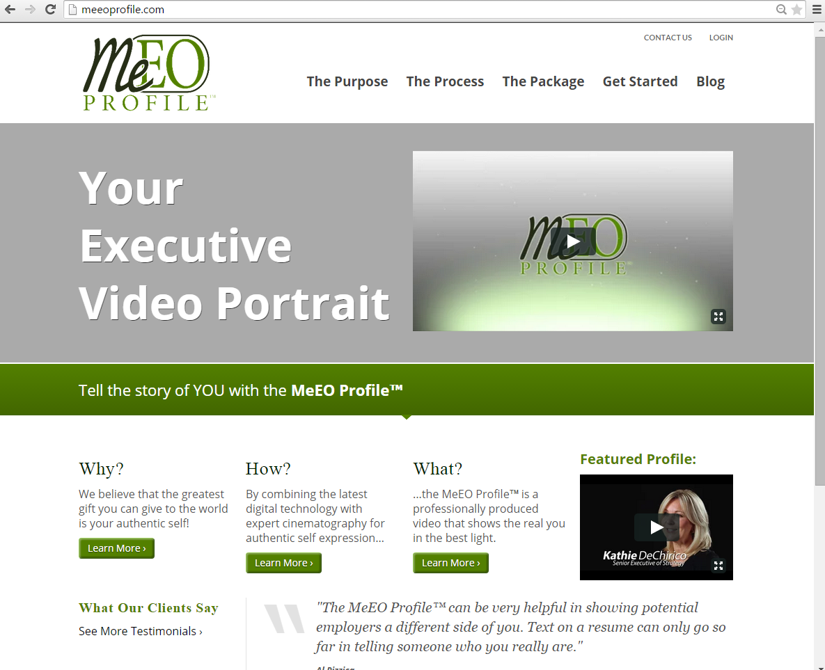 """<h4>MeEOProfile Redesign</h4>  The original MeEO Profile™ website included some fairly advanced functionality for your average WordPress site – paid memberships, online appointment scheduling, and a custom-built """"Digital Video Business Card"""" for members. When we decided to """"renovate"""", I kept all that and improved upon it, gave it a new, sleeker design, and rebuilt the Digital Business Card pages so they function similarly to social network profiles that members can update themselves at any time. The new design also lays the groundwork for some new features planned down the road!  <a href=""""http://www.meeoprofile.com"""" target=""""_blank"""" class=""""link"""">Check it out! →</a>"""