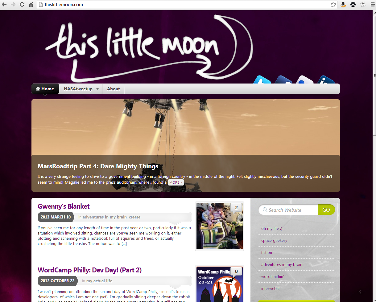 """<h4>ThisLittleMoon Blog</h4>  This is my blog. Customized WordPress theme (based on <a href=""""http://wordpress.org/extend/themes/mystique"""" target=""""_blank"""">Mystique</a>, lots of photos, silliness, and space nerdery. Perpetually a work in progress.  <a href=""""http://www.thislittlemoon.com"""" target=""""_blank"""" class=""""link"""">Check it out! →</a>"""