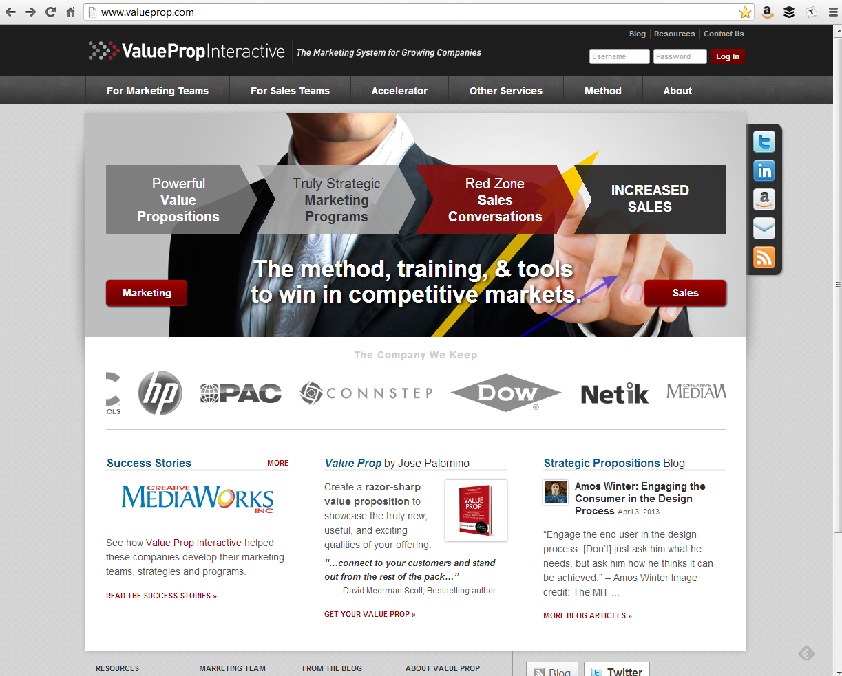 """<h4>ValueProp.com</h4>  I handle the day-to-day maintenance for Value Prop Interactive's websites, including this latest iteration of the homepage. Typically, the boss comes up with an idea and sketches it out in PowerPoint, and I make it happen in WordPress. This recent update included a complete overhaul of the main """"slider"""" (which doesn't actually slide now, but is just sort of an animated presentation of each peice) and the introduction of the client logo reel below it.<br /><br />(Credit for the overall site design goes to the lovely folks at <a href=""""http://www.strangerstudios.com"""" target=""""_blank"""">Stranger Studios</a> – I just keep the content current and conforming to the design.)  <a href=""""http://www.valueprop.com"""" target=""""_blank"""" class=""""link"""">Check it out! →</a>"""