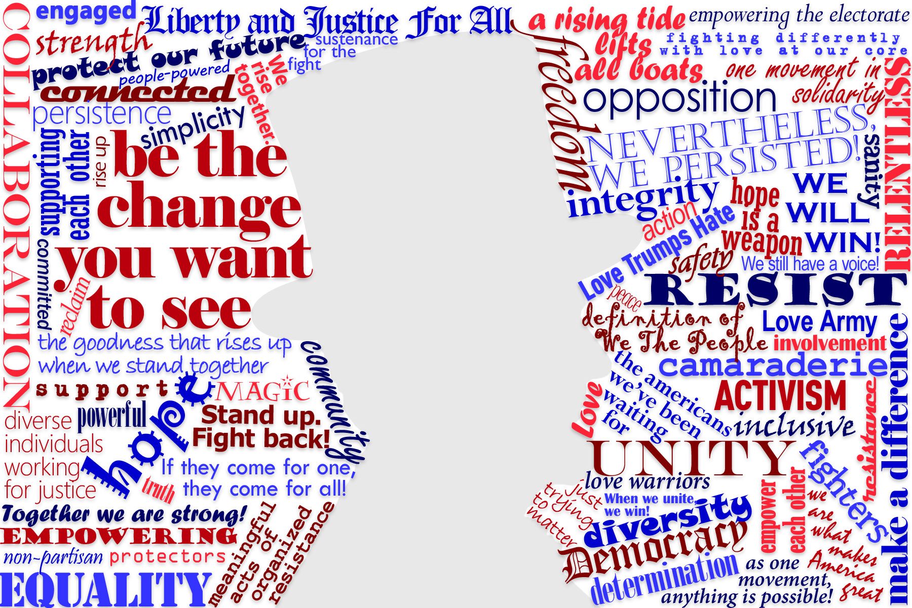 <h4>Delco PA Indivisible WordCloud</h4> 				 				A friend of mine helps to lead a local Indivisible group, and asked the members what it means to them, then used an online generator to turn the list into a wordcloud with Abraham Lincoln's silhouette in the negative space, but wasn't satisfied with the results, so asked me to re-do it by hand.